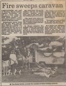 Fire in caravan July1991